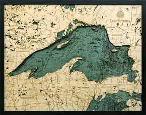 "Lake Superior 3-D Nautical Wood Chart, Large, 24.5"" x 31"" NLSP-D4L"